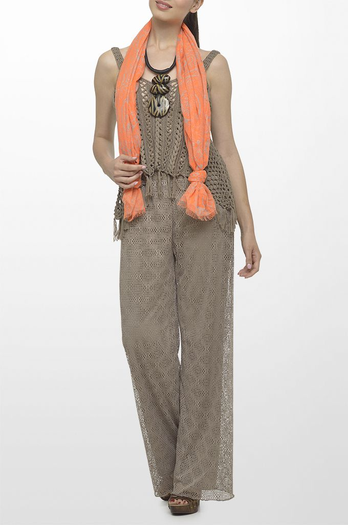Sarah Lawrence - hand crochet sleeveless top, wide legged lace trouser, printed scarf, necklace.