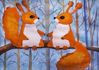 """Детский рисунок """"Две белки в лесу"""""""