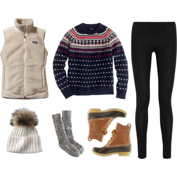 A fashion look from November 2013 featuring Patagonia vests, Donna Karan leggings and J.Crew socks. Browse and shop related looks.