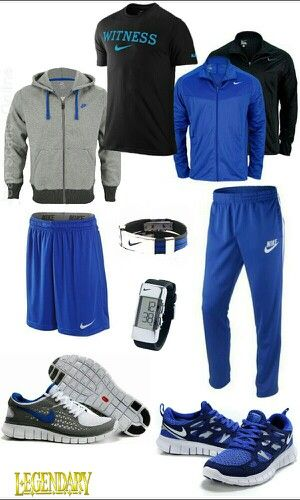 Blue black athletic casual outfit