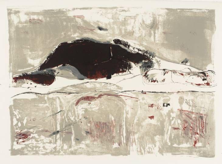 Elizabeth Blackadder 'Dark Hill, Fifeshire', 1960. Lithograph on paper, 479 x 667 mm. © Elizabeth Blackadder