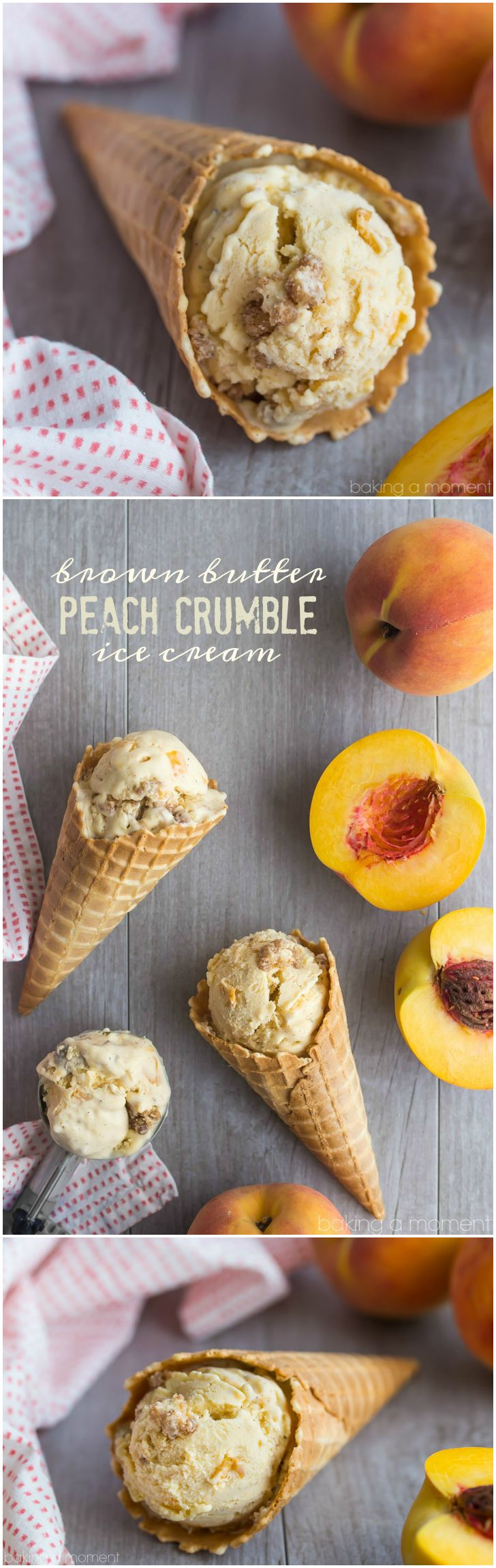 Brown Butter Peach Crumble Ice Cream- the ice cream has brown butter and peaches and there's the most delicious cinnamon streusel swirl!