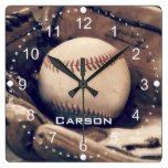 Personalized Name Baseball in Glove Wall Clock  #Baseball #Clock #Glove #name #personalized #RusticClock #Wall The Rustic Clock