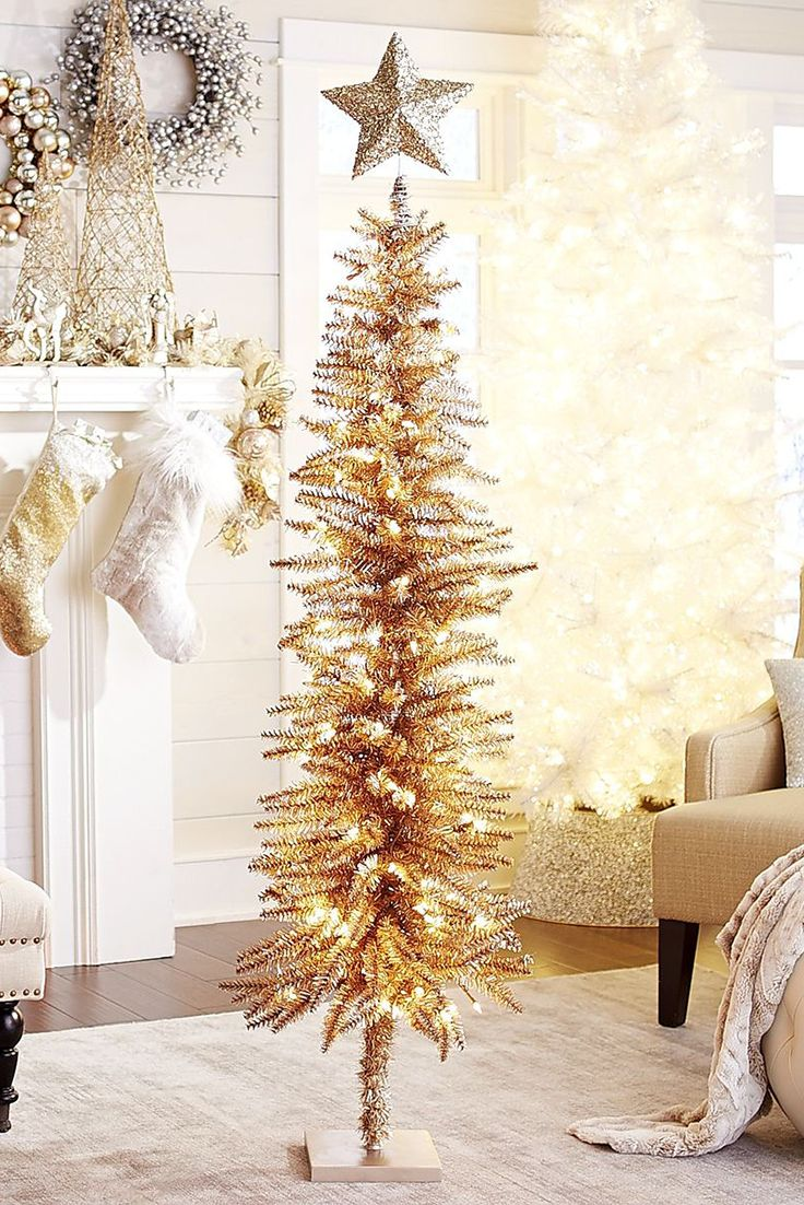 It's true, all that glitters is gold, and Pier 1's Pre-Lit Skinny Entryway Tree glitters with tons of seasonal spirit. With a skinny silhouette, it easily fits in your entryway, but no matter where you put it, you'll make a stunning seasonal impression on all your guests.