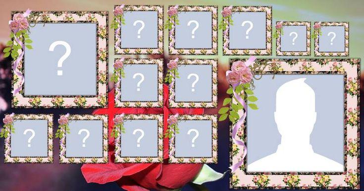 Collage de fotos hermosa con las flores y 12 amigos. Cree el suyo.