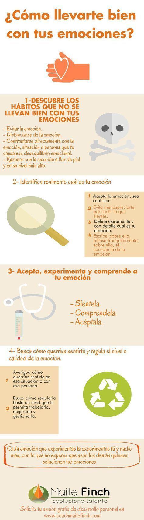 Cómo llevarte bien con tus emociones #infografia #infographic #psychology