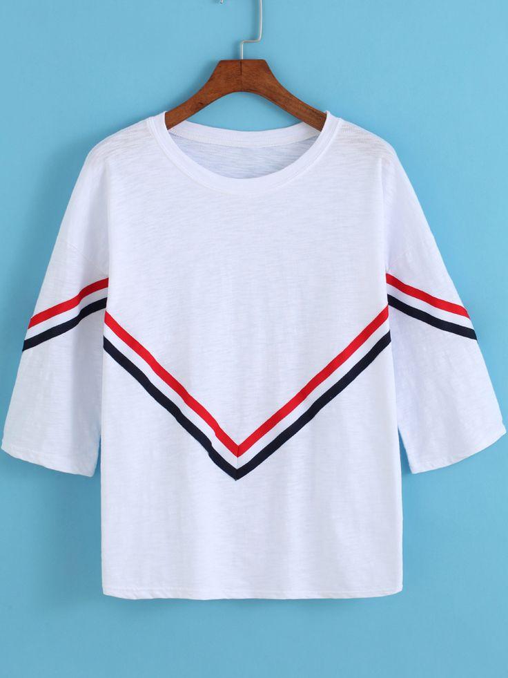 White Round Neck Striped Loose T-Shirt
