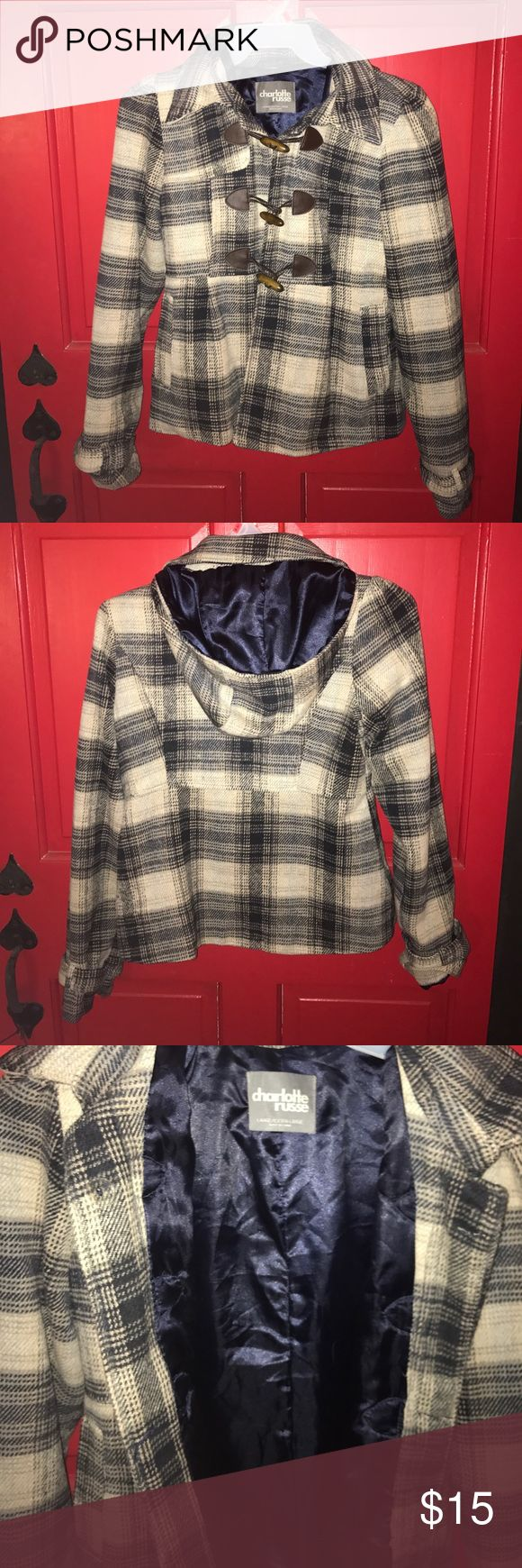 Plaid Fall Peacoat Perfect for fall: Navy blue, gray, and beige peacoat jacket with brown buttons. Removable hood. No zipper. Fits more like a medium. Please feel free to ask any additional questions!   ✨ Make an offer with the offer button! 🚭Smoke free home!  ❌no trades, sorry! Charlotte Russe Jackets & Coats Pea Coats