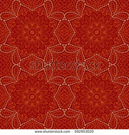 Seamless pattern doodle Orange ornament. Ethnic motives. Zentangl  #bubushonok #art #bubushonokart #design #vector #shutterstock  #pattern #fabric #seamless #doodle #ornament