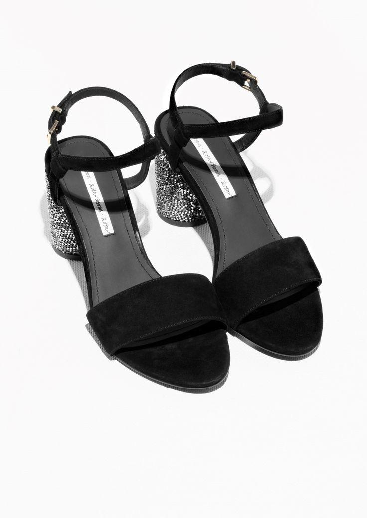 Other Stories image 2 of Suede Sequin Heel Sandalette in Black
