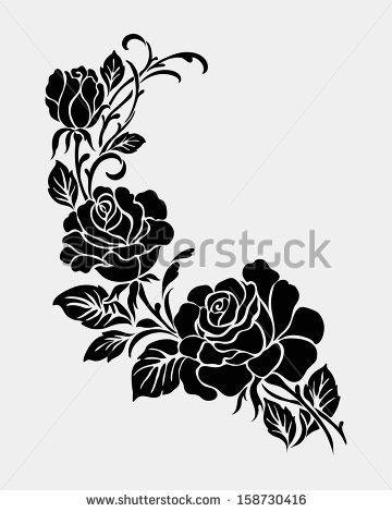 Rose motif,Flower design elements vector - stock vector                                                                                                                                                                                 Más