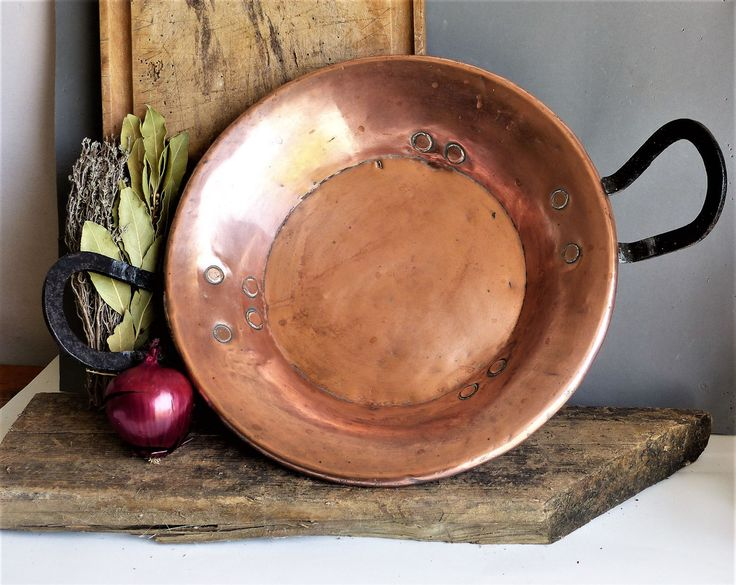 French Vintage Copper Skillet Pan Pot Antique Ware Kitchen Decor Gift For Her