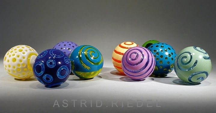NEW Blown, cold worked and polished lampwork beads/Astrid Riedel