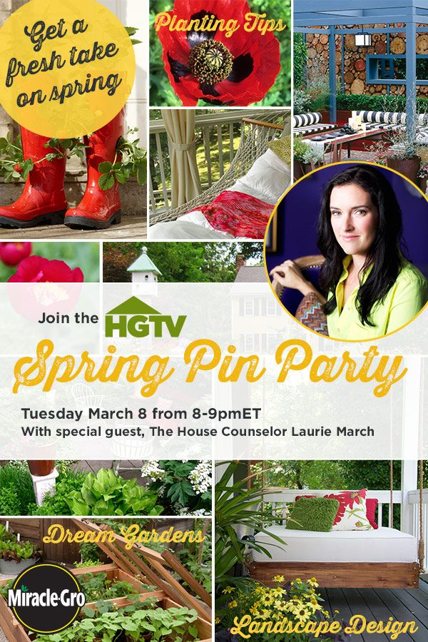 Welcome warmer weather with our Spring Pin Party!  We're pinning our best gardening & landscaping tips, plus sharing our most inspiring outdoor spaces.  Join the party right here on Pinterest --Tuesday (March 18) from 8-9pm ET.  More details plus pin party tips here -->  http://hg.tv/svkf: Party Tips, Pin Party, Pinterest Tuesday, Spring Pin, Outdoor Spaces, Inspiring Outdoor, Landscaping Tips, Garden Glam