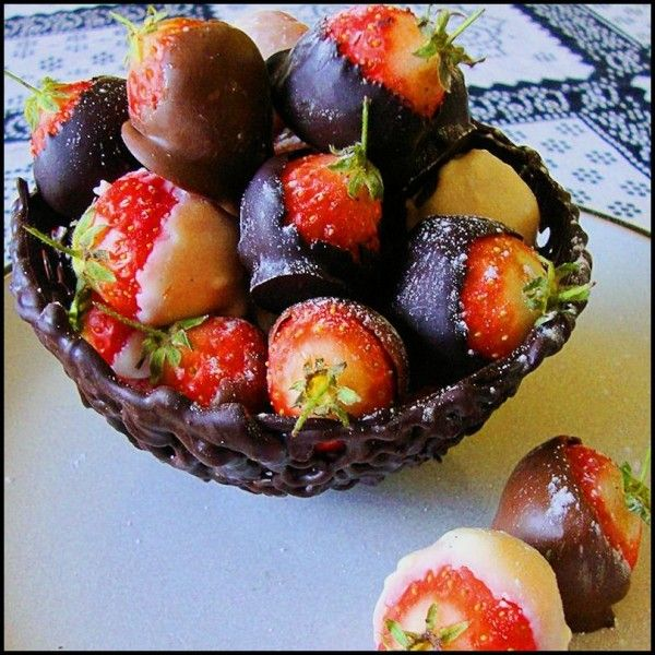 Chocolate Basket and Dipped Strawberries