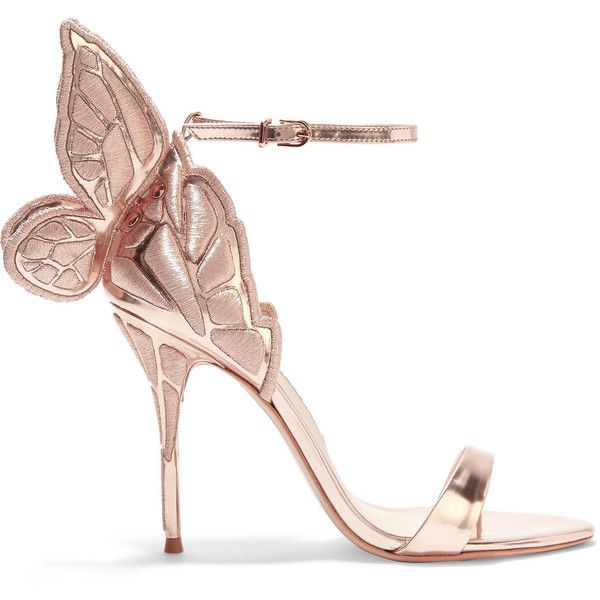 Sophia Webster Chiara embroidered metallic leather sandals ($625) ❤ liked on Polyvore featuring shoes, sandals, heels, pink, high heels sandals, pink sandals, metallic sandals, heeled sandals and strappy leather sandals
