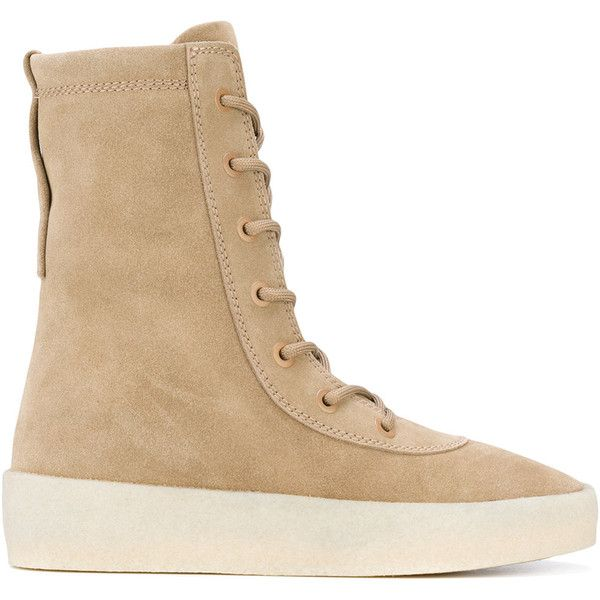 Yeezy lace-up boots ($626) ❤ liked on Polyvore featuring shoes, boots, beige, leather lace up shoes, lacing boots, lace up shoes, lace-up boots and beige shoes