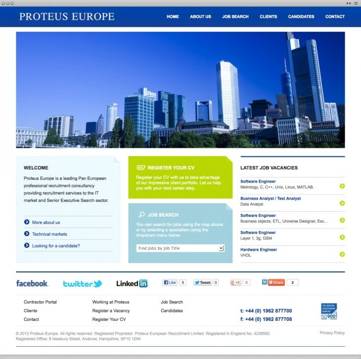 Proteus Europe- The brief was to create a dynamic site with multi-lingual functions and highlight the latest jobs