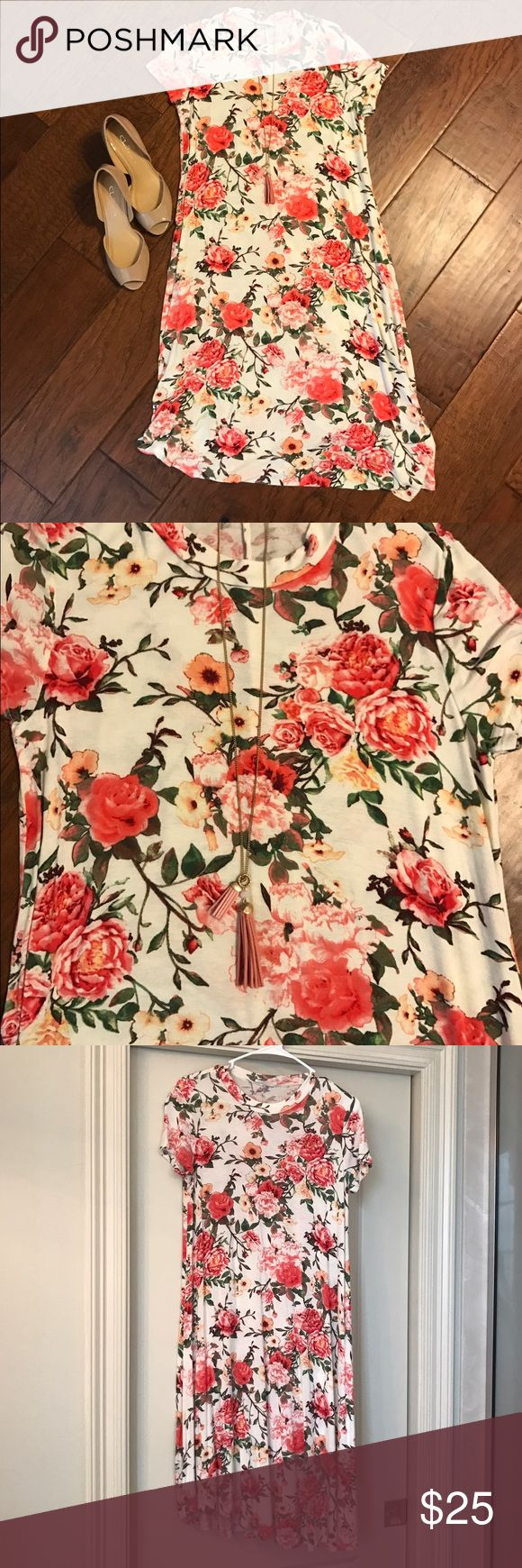 Roses T Shirt Dress Pink and red roses white T shirt dress modest length, not lined. Tags removed, never worn. Loose fit. Purchased at a boutique. Reborn Dresses Midi