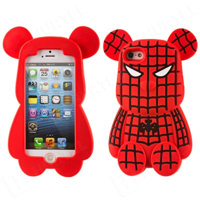Etui, pokrowce, futerały Etui nakładki Etui nakładki 3D | Gumowe etui na iPhone 5S 5 miś Spider Bear czerwone | EKLIK - Sklep GSM, Akcesoria na tablet i telefon