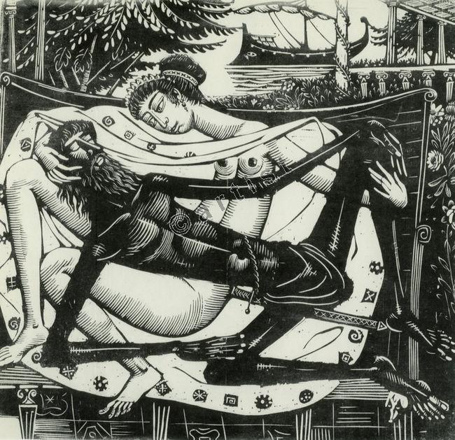 Odysseus at Circe's. Woodcut. 1957. Costas Grammatopoulos. Κώστας Γραμματόπουλος, Ο Οδυσσέας στην Κίρκη, 1957, ξυλογραφία, 61,7 x 72,5 εκ.
