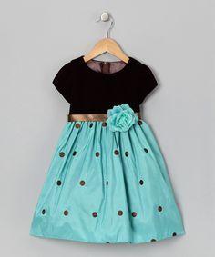 Brown & Teal Embroidered Taffeta Dress - Infant, Toddler & Girls