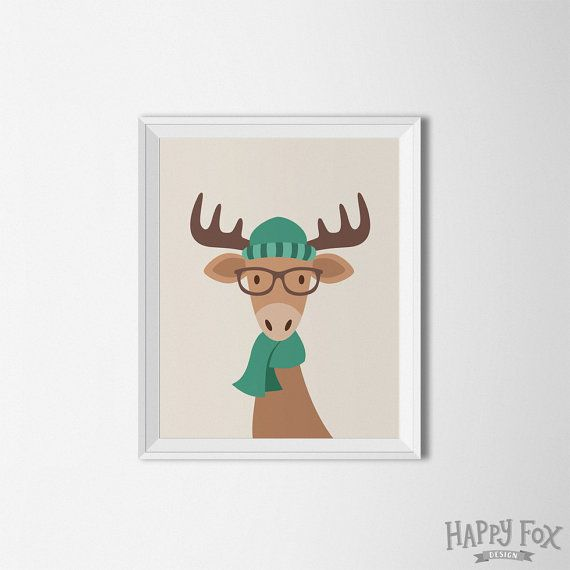 Hipster arte imprimible de alces alces pared por HappyFoxDesign