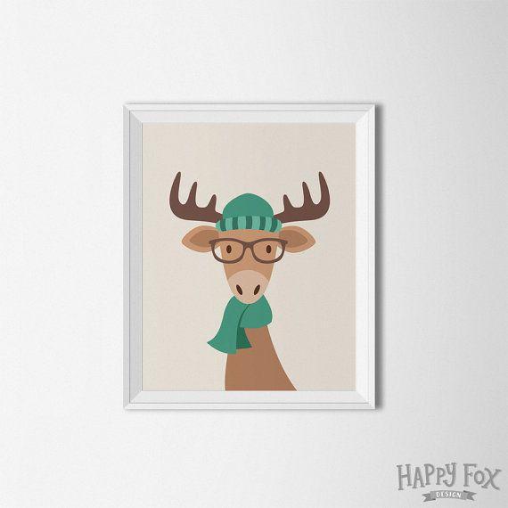 Hipster arte imprimible de alces alces pared arte Hipster cartel vivero decoración Hipster pared arte Hipster animales bosque Animal bosque vivero