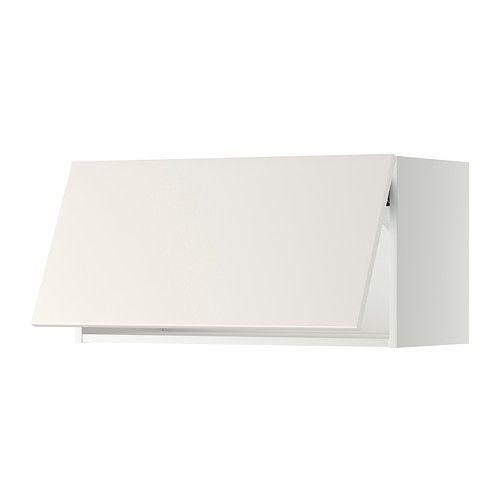 IKEA - METOD, Väggskåp horisontalt, Veddinge vit, vit, 80x40 cm, , Dörrlyft med spärr för mjukare stängning medföljer.Stommens konstruktion är rejäl; 18 mm tjocklek.