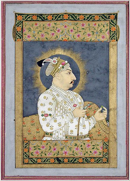 File:Emperor Muhammad Shah at a window, holding an emerald and the mouthpiece of a ho (6125078792).jpg