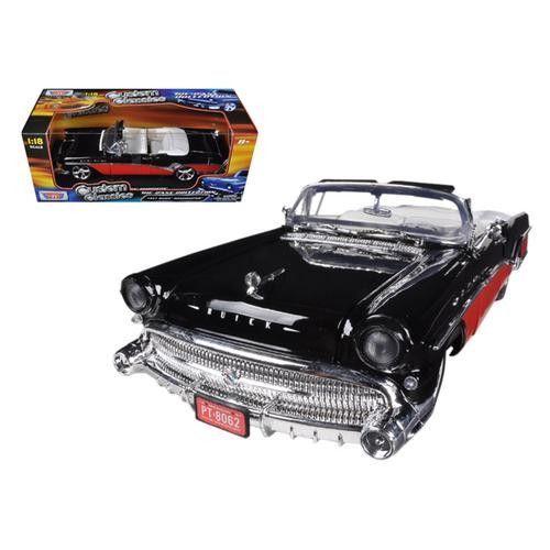 1957 Buick Roadmaster Red/Black Custom 1/18 Diecast Car Model by Motormax