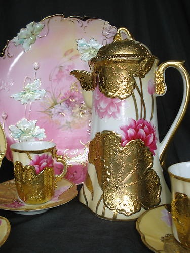 Antique Pink Nippon 10 PC Chocolate Pot Set Heavy Gold Overlay Pink Lotus 4 Cups | eBay