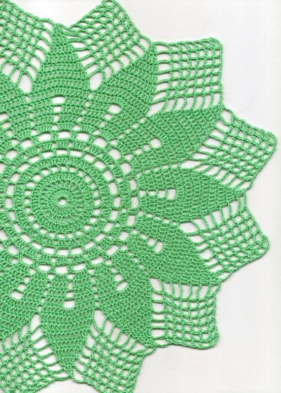 Crochet Doily Lace doilies Mint Green Round Doily by DoilyWorld