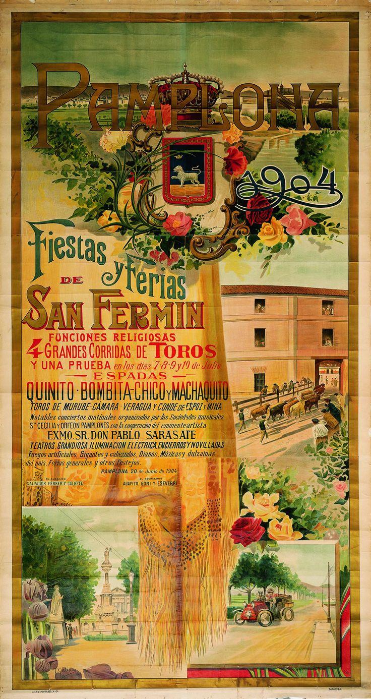 Cartel de los Sanfermines de 1904 - Fiestas de San Fermín, Pamplona.