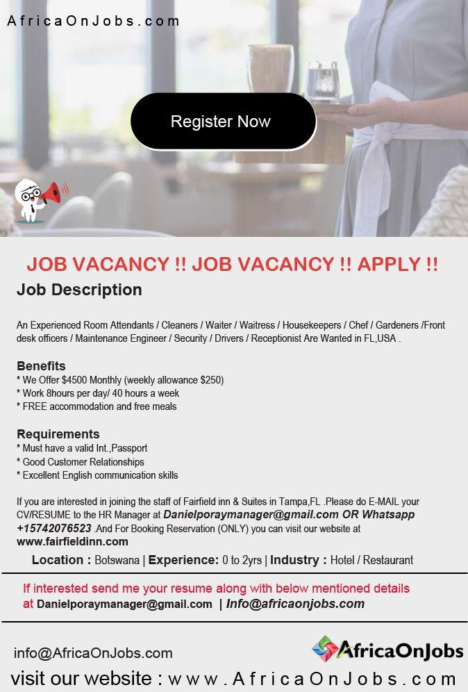Jobs In Botswana Hotel Jobs Front Desk Job
