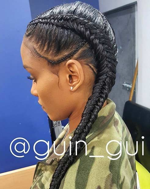 Two Fishtail Cornrows Style