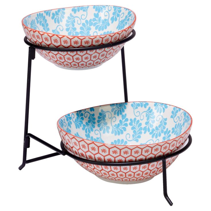 Certified International Chelsea Mix & Match Porcelain and Metal 2-Tier Server with Oval Bowls Orange