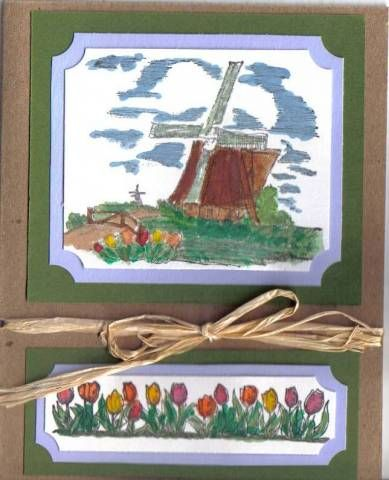 Watercolored Windmill-Stampin Up Netherlands stamp set. Hollandse Kaarten