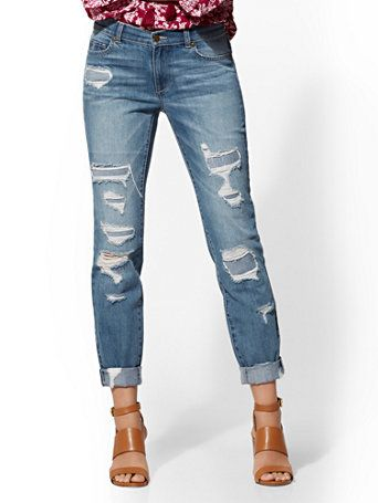 37e6f76c4b6 Shop Soho Jeans - Retro Destroyed Curvy Boyfriend - Force Blue. Find your  perfect size online at the best price at New York   Company.