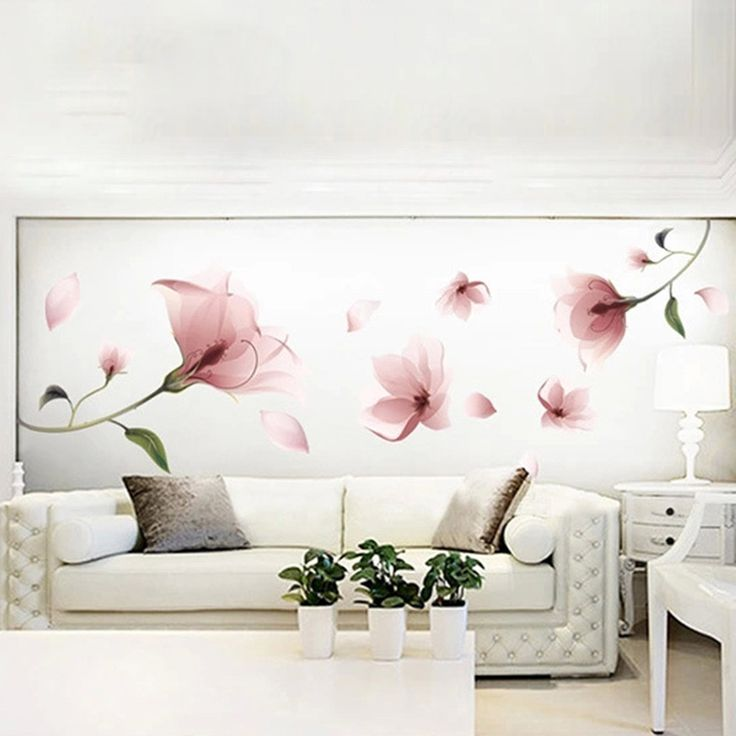 New Elegant Frosted Pink Lily Flower Petal Removable Wall Sticker