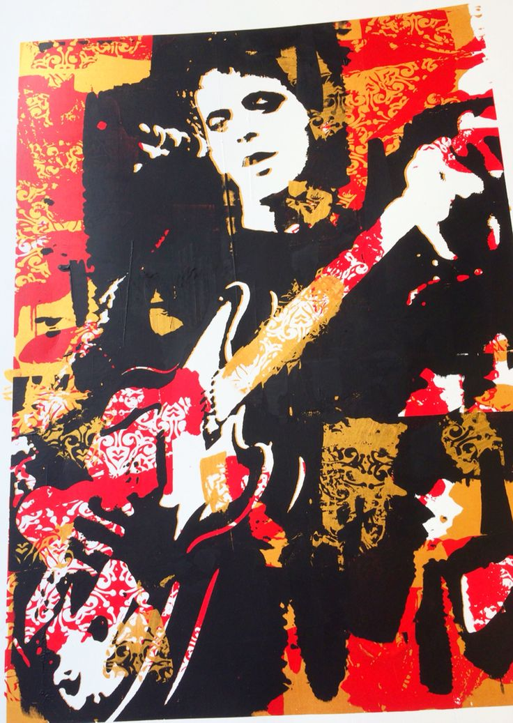 Lou Reed From a series of portraiture called 'Young, Gifted and Cracked' Screen print and Lino cut. Exhibited at Nelson Art Expo and Matchbox Studio 2014. The series symbolised the patterns in the lives of the subjects that were never broken.