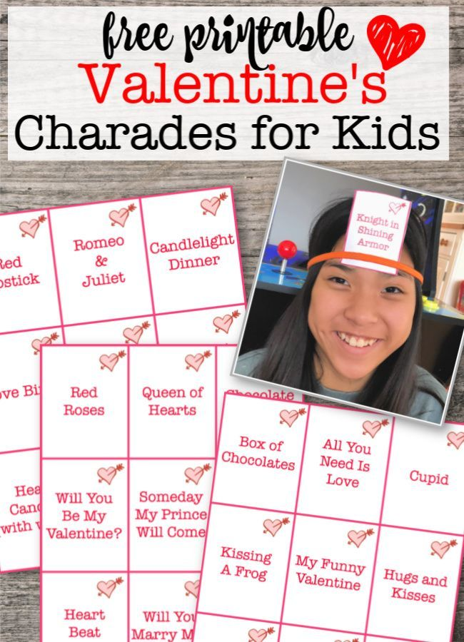 Valentines Day Games Free Printable Charades Heads Up Game For Kids Valentine S Day Games Kids Party Games Valentine S Day Party Games