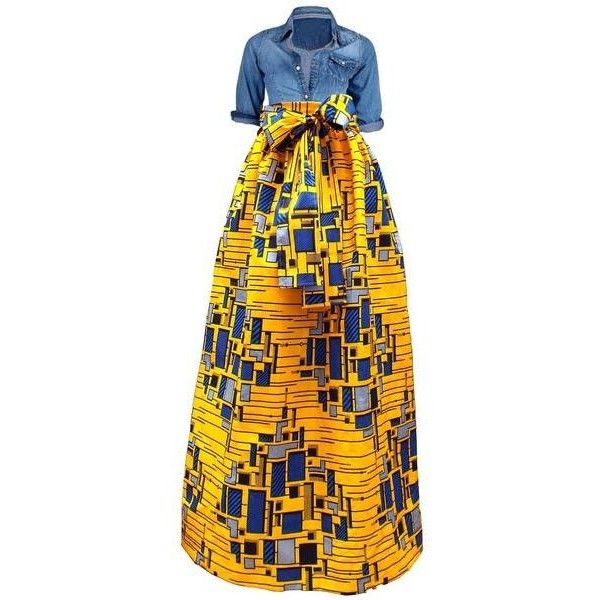Chic African Print Maxi Skirt (Yellow/Blue) ($60) ❤ liked on Polyvore featuring skirts, yellow skirt, african print skirt, floor length skirt, african print maxi skirt and long blue skirt
