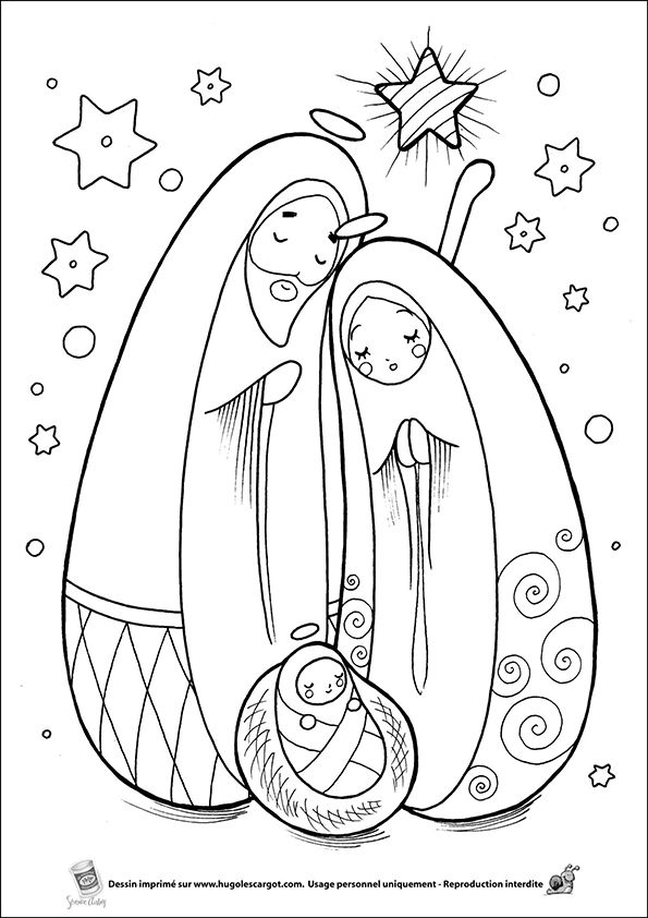 Coloriage creche sur Hugolescargot.com - Hugolescargot.com