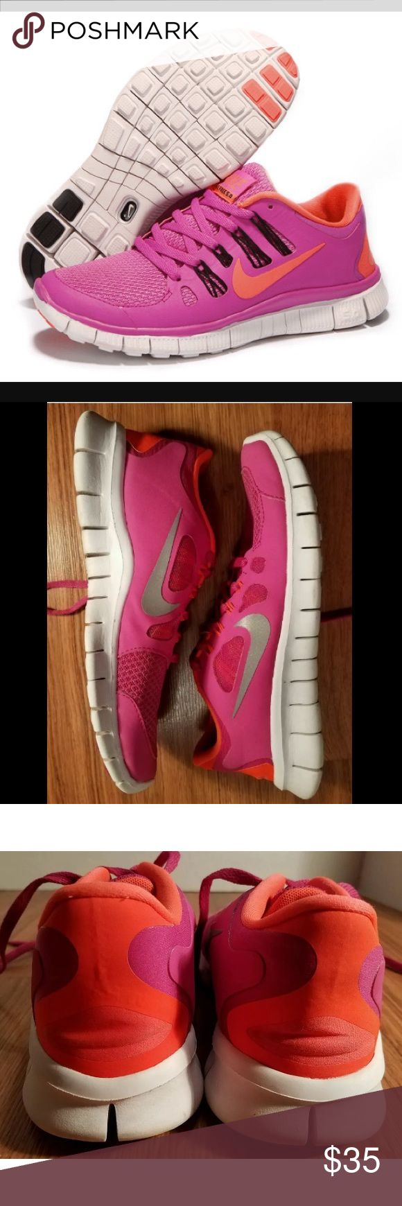 •PRICED TO SELL NOW•$148 NIKE FREE 5.0 RUNNER SHOE $148.00 PLUS TAX RETAIL MUST HAVE NIKE FREE 5.0 RUNNING SHOES YOUTH SIZE 6.5 CONVERTS TO SIZE 10 WOMENS (sole measures 10.5 inches long) SEE SIZE CHART PRIOR TO PURCHASE. NO BOX BECAUSE I COLLECT THEM, PURCHASED IN STORE. WORN UNDER 10x SEE PICTURES FOR WEAR, GREAT CONDITION SUPER COMFY. •••PRICED TO SELL SAME DAY, OFFERS WELCOME THROUGH THE OFFER OPTION, NO TRADES OR HOLDS••• Nike Shoes Sneakers