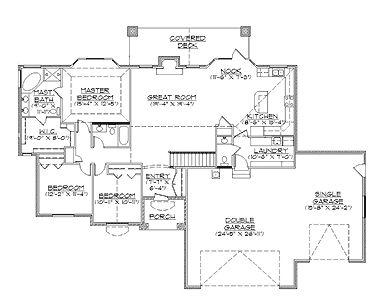 Traditional Rambler House Plan (HWBDO74002) | Traditional House Plan from BuilderHousePlans.com