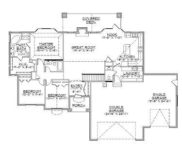 Traditional Rambler House Plan (HWBDO74002) | Traditional House Plan from BuilderHousePlans.com