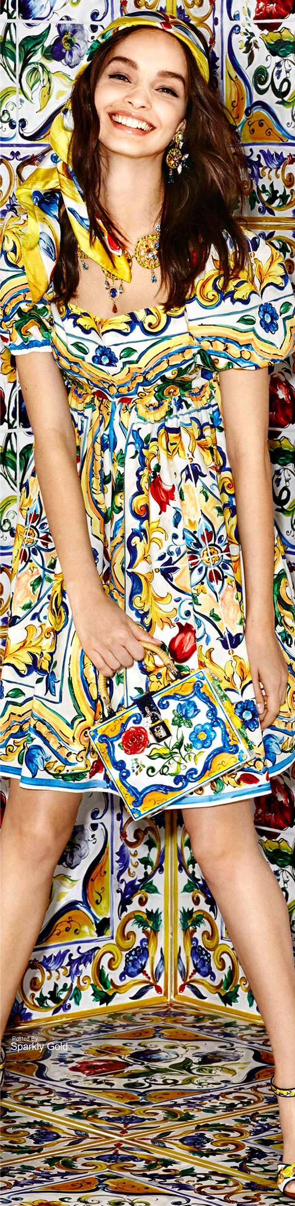 Majolica fabric -- wow, why didn't somebody think of this before?  From Dolce & Gabbana Fall 2016 Majolica Collection.