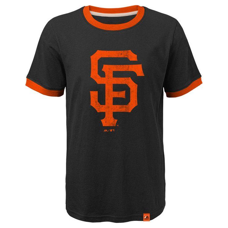 San Francisco Giants Majestic Youth Baseball Stripes Ring T-Shirt - Black