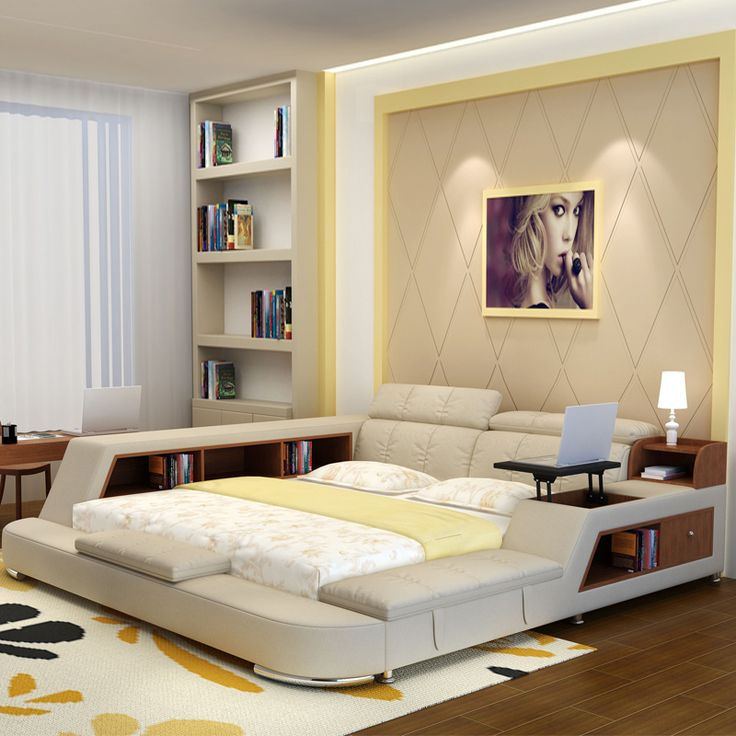 Luxury Bedroom Furniture Sets Modern Fabric King Size Double Bed With Storage Bookcase Cabinets Tail